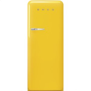 Smeg50'S Style Refrigerator with ice compartment, Yellow, Right hand hinge