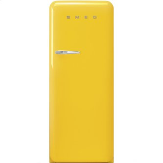 """Approx 24"""" 50'S Style Refrigerator with ice compartment, Yellow, Right hand hinge"""