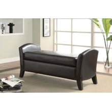Upholstered Brown Faux Leather Bench