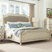 Huntleigh - King/california King Carved Upholstered Headboard - Vintage White Finish Product Image