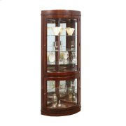 Curved 5 Shelf Corner Curio Cabinet in Cherry Brown Product Image