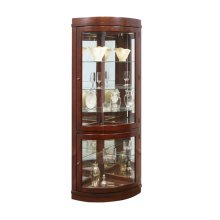 Curved 5 Shelf Corner Curio Cabinet in Cherry Brown