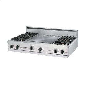 "Metallic Silver 48"" Sealed Burner Rangetop - VGRT (48"" wide, four burners 24"" wide griddle/simmer plate)"