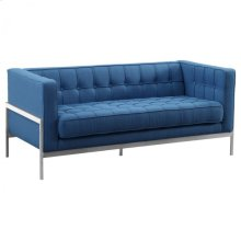 Armen Living Andre Contemporary Loveseat in Brushed Stainless Steel and Blue Fabric