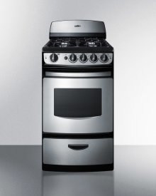 """20"""" Wide Gas Range In Stainless Steel With Electronic Ignition, Oven Window, and Open Burners"""