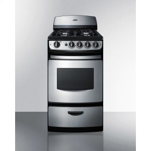 """Summit20"""" Wide Gas Range In Stainless Steel With Electronic Ignition, Oven Window, and Open Burners"""