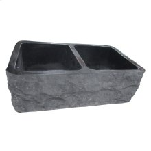 "Bowdon Double Bowl Granite Farmer Sink - 33"" - Polished Black"