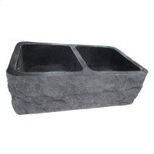 "Bowdon Double Bowl Granite Farmer Sink - 33"" - Polished Black"