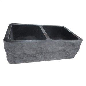 "Bowdon Double Bowl Granite Farmer Sink - 33"" - Polished Black Product Image"
