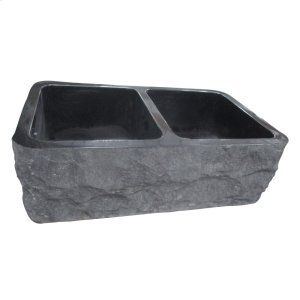 "Bowdon Double Bowl Granite Farmer Sink - 33"" - Polished Black Product Image"