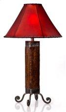 Dark Wood & Iron Lamp Product Image