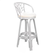 "Bali Indoor Swivel Rattan & Wicker 30"" Bar Stool in Whitewash Finish with Cushion"