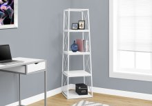 "BOOKCASE - 60""H / WHITE / WHITE METAL"