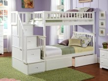 Columbia Staircase Bunk Bed Twin over Twin with Urban Bed Drawers in White