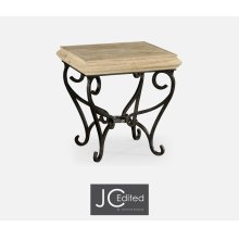 Limed Wood Square Side Table with Wrought Iron Base