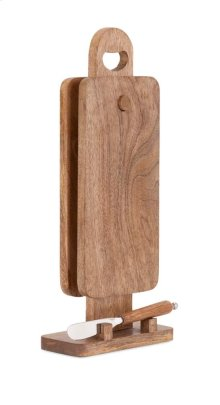 TY Persimmon Twin Cutting Boards with Stand and Knife