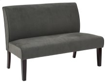 Laguna Loveseat In Graphite Velvet Fabric and Dark Espresso Legs