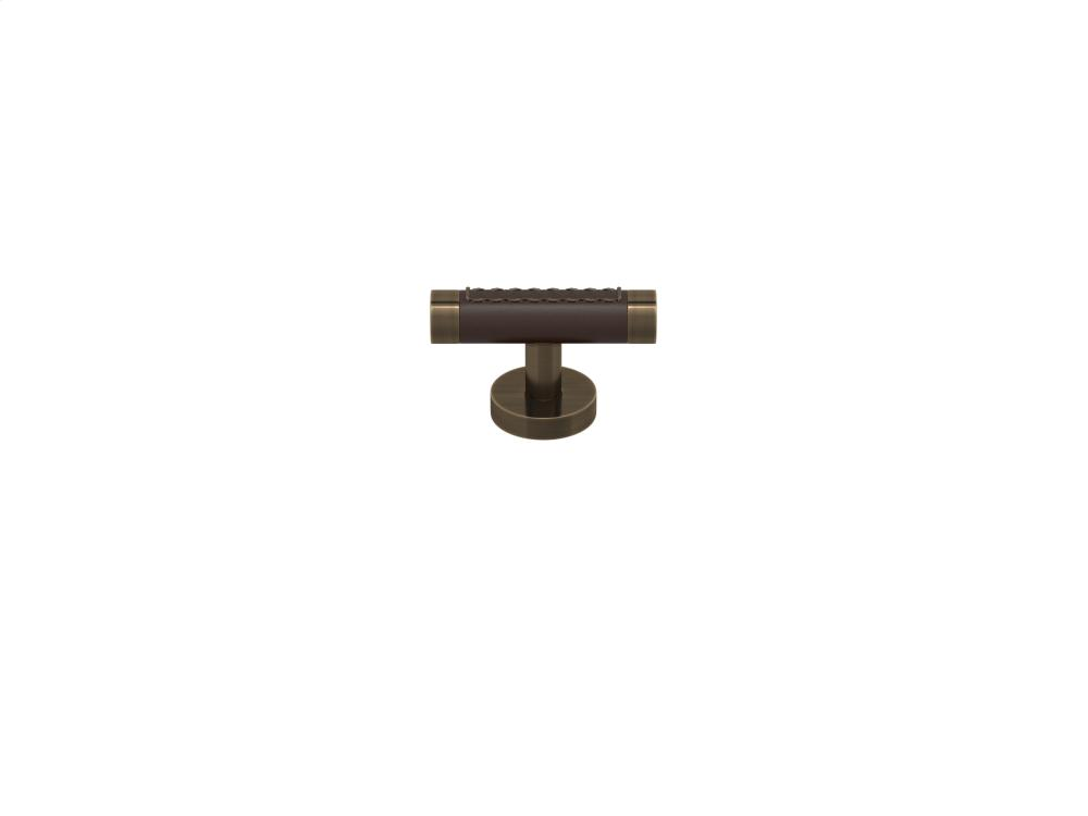 Barrel Stitch Out Cabinet T-bar Turning Recess Leather In Chocolate And Fine Antique Brass
