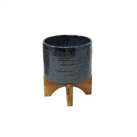 "Ceramic 6.75"" Planter On Stand, Dark Blue"