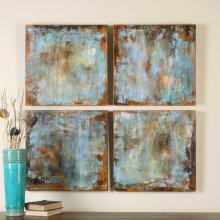 Accent Tiles Hand Painted Canvases, S/4