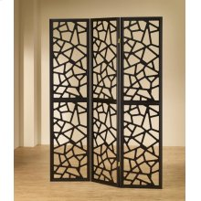 Transitional Black Three-panel Screen