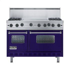"""Cobalt Blue 48"""" Open Burner Range - VGIC (48"""" wide, four burners 24"""" wide griddle/simmer plate)"""