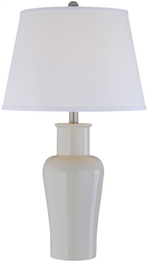 Ceramic Table Lamp, Ivy/off/wht Fabric Shd, E27 A 150w