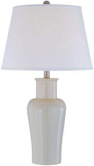 Ceramic Table Lamp, Ivy/off/wht Fabric Shd, E27 A 150w