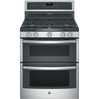"""GE Profile 30"""" Gas Freestanding Double Oven Convection Range Stainless Steel - PCGB960SEMSS"""