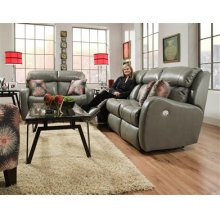Double Reclining Sofa with Power Headrest and 2 Pillows