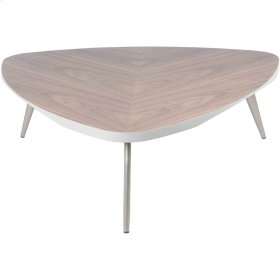 Maeve KD Coffee Table Brushed Nickel Legs, Walnut
