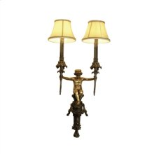 Finely Cast Antique Patina Brass Cherub Wall Sconce, Hand Sewn Silk Shades