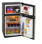 3.1 CF Two Door Counterhigh Refrigerator - Black w/Stainless Steel Doors Product Image