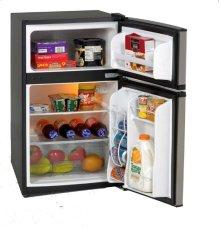 3.1 CF Two Door Counterhigh Refrigerator - Black w/Stainless Steel Doors