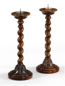 Pair of Twisted Walnut Candlesticks