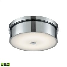 Towne 1-Light Round Flush Mount in Chrome with Opal Glass Diffuser - Integrated LED - Small