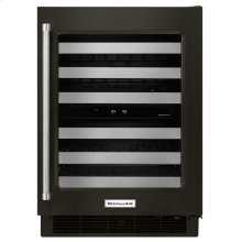"""24"""" Stainless Steel Wine Cellar with Metal-Front Racks - Black Stainless Steel with PrintShield™ Finish"""