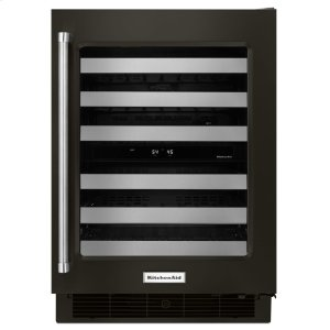 "Kitchenaid24"" Stainless Steel Wine Cellar with Metal-Front Racks - Black Stainless"
