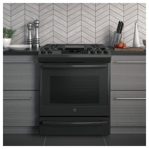 """GE® 30"""" Slide-In Front-Control Convection Gas Range"""