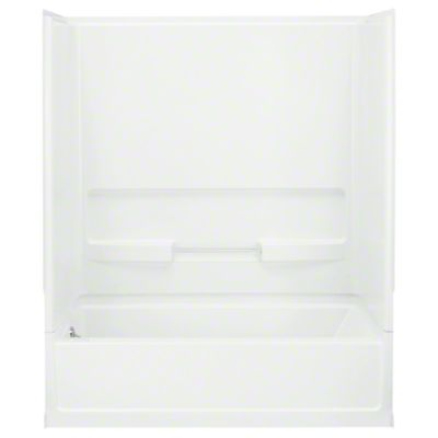 """Advantage™, Series 6103, 60"""" x 30"""" x 72"""" Bath/Shower with Age in Place Backers - Left-hand Drain - White"""