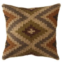 Olive, Tan, & Grey Kilim Pillow. Product Image