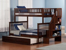 Woodland Staircase Bunk Bed Twin over Full with Raised Panel Trundle Bed in Walnut