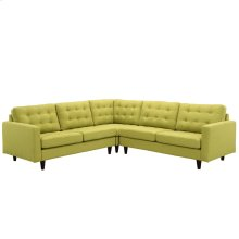 Empress 3 Piece Upholstered Fabric Sectional Sofa Set in Wheatgrass