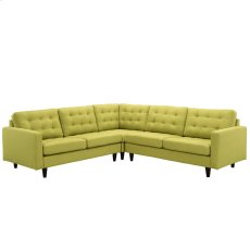 Empress 3 Piece Upholstered Fabric Sectional Sofa Set in Wheatgrass Product Image