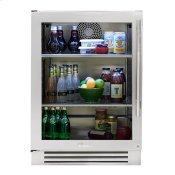 24 Inch Stainless Glass Door Left Hinge Undercounter Refrigerator