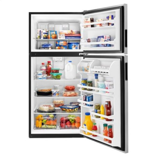 30-inch Wide Top-Freezer Refrigerator with Glass Shelves - 18 cu. ft. - stainless steel