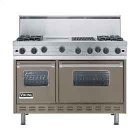 """Stone Gray 48"""" Open Burner Range - VGIC (48"""" wide, four burners 12"""" wide griddle/simmer plate 12"""" wide char-grill)"""