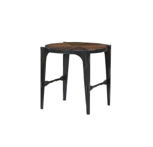 Emerald Home Franklin's Forge Round End Table-wood Top With Metal Legs-t247-01