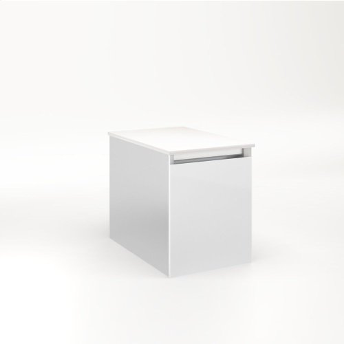 """Cartesian 12-1/8"""" X 15"""" X 18-3/4"""" Single Drawer Vanity In Satin White With Slow-close Full Drawer and Night Light In 5000k Temperature (cool Light)"""