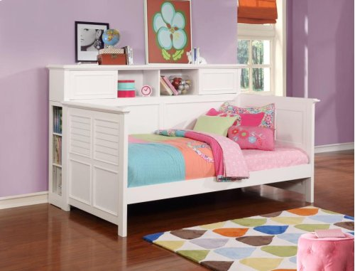 -DAYBED FINISHED IN WHITE-CONSTRUCTED WITH SOLID PINE-14 PC SLAT KIT INCLUDED-OPTIONAL BOOKCASE AVAILABLE (#300590B)-OPTIONAL TRUNDLE AVAILABLE (#400323)